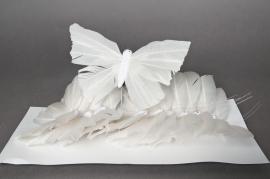 A222E9 Box of 12 picks butterflies white 18cm