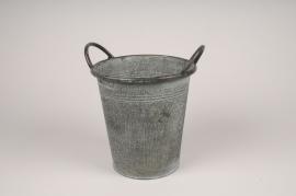 A222NM Cache-pot en zinc gris D21cm H21.5cm