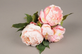 a223nn Bunch of 4 artificial pink peony H29cm