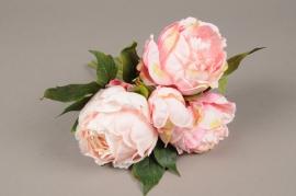 a223nn Bouquet de 4 pivoines artificielles rose H29cm