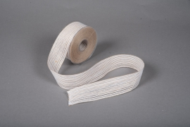 A223UN Natural and white jute ribbon 40mm x 12m