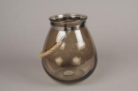 A228DQ Photophore en verre brun et corde H22cm