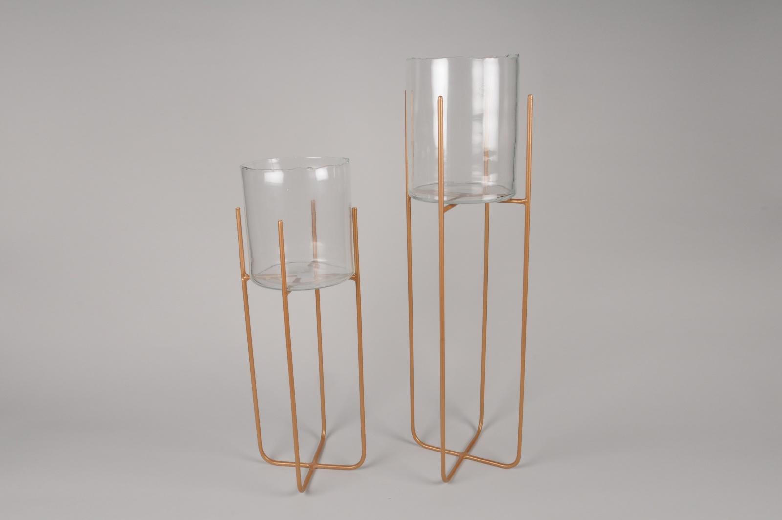 A228KI Set de 2 Jardinières en verre et en métal