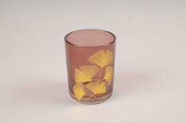 A230KI Photophore en verre bordeaux D7cm H8.5cm