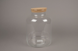 A234I0 Glass vase bottle with cork plug D21cm H31cm