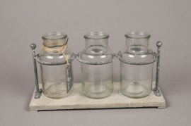 A237I0 Wooden tray with 3 glass vases 27x10cm H15cm