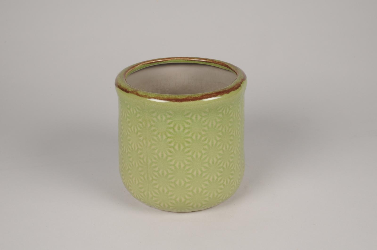 A239NM Cache-pot en céramique vert D18cm H17cm