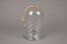 A245DQ Cloche en verre avec support et corde D19cm H29cm