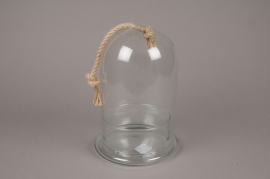 A245DQ Glass dome with base and rope D19cm H29cm