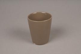 A256WV Pot céramique taupe D7cm H9cm