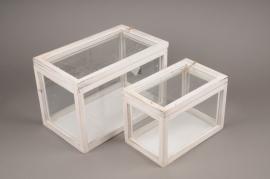 A257U7 Set 2 serres en bois et verre 31.5cm x 19cm H21cm