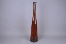 A258DQ Vase bouteille en verre ambre D18cm H100cm