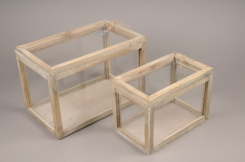 A258U7 Set of 2 glass and wooden greenhouse H21cm