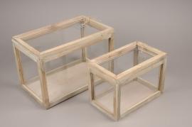 A258U7 Set 2 serres en bois et verre 31.5cm x 19cm H21cm