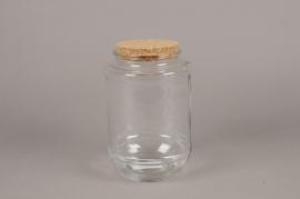 A262I0 Bocal en verre avec bouchon en liège D13cm H21cm