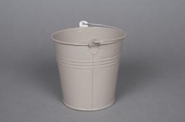 A262KM Zinc bucket taupe D8cm H7cm