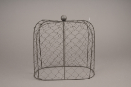 A263U7 Oval bell in grey metal mesh H25cm