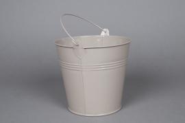 A264KM Zinc bucket taupe D13cm H12cm