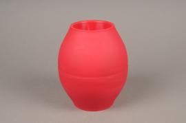 A264QX Set of 10 red plastic vase D14.5cm H17.5cm