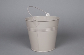A265KM Zinc bucket taupe D16 H14cm
