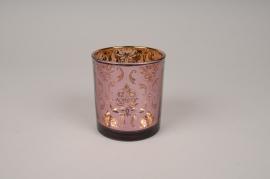A268DQ Photophore en verre violet D8cm H9cm