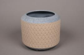 A268HX Cache-pot en céramique beige avec motifs D19cm H17cm