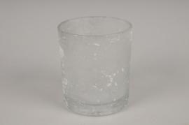 A270DQ Photophore en verre givré blanc D9cm H10cm