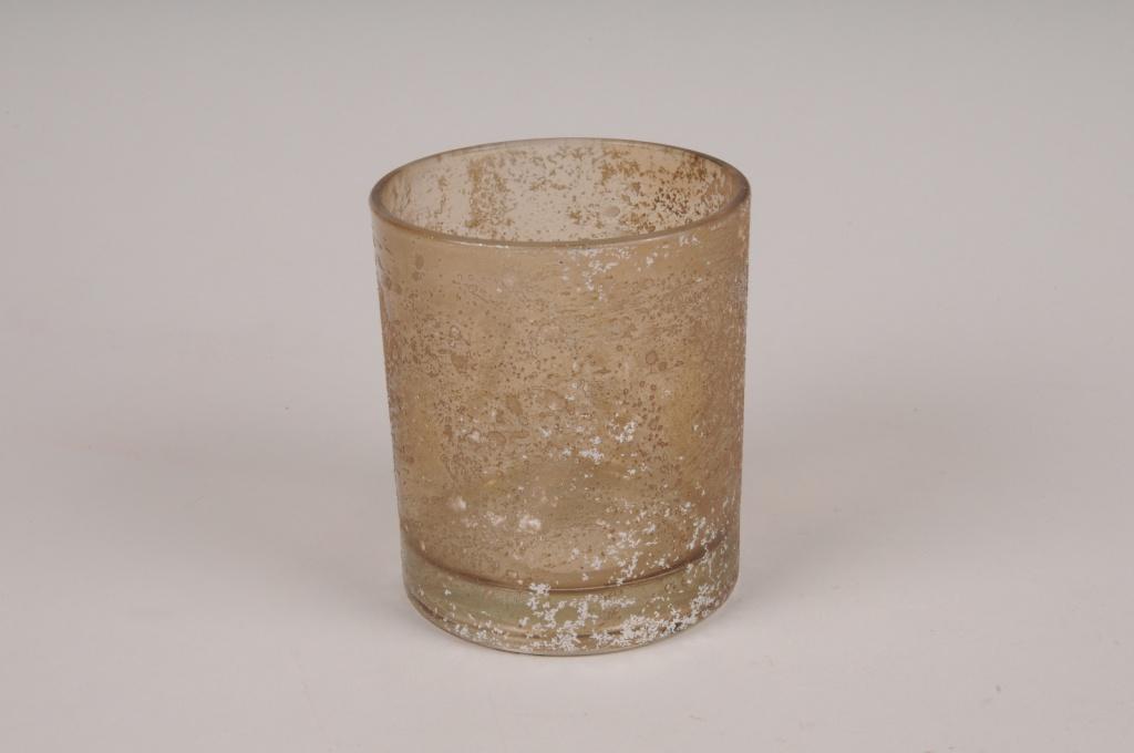 A272DQ Photophore en verre givré ambre D9cm H10cm