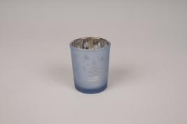 A273DQ Photophore en verre assortis bleu D5.5cm H6.5cm