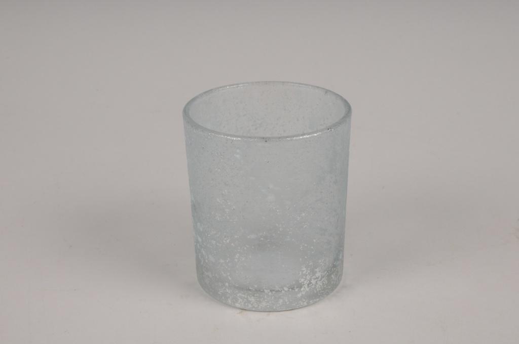 A274DQ Photophore en verre givré bleu D7cm H8cm
