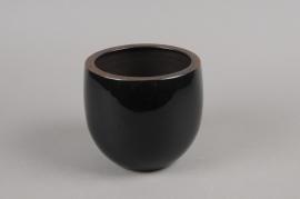 A275QS Ceramic planter black D14cm H14cm
