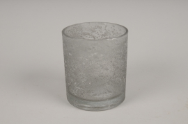 A276DQ Photophore en verre givré gris D9cm H10cm