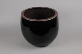A277QS Cache-pot en céramique noir D25 H25cm