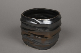 A278HX Black copper ceramic planter D16,5cm H17,5
