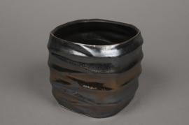 A278HX Cache-pot noir cuivré D16,5cm H17,5