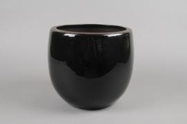 A278QS Cache-pot en céramique noir D32cm H29cm