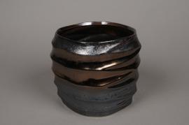 A279HX Cache-pot noir cuivré D14cm H13,5cm
