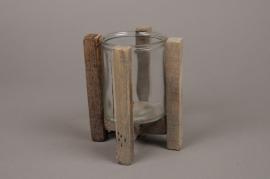 A279U7 Photophore en verre avec support en bois H17.5cm