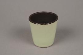 A280QS Cache pot en céramique vert anis D7cm H7cm