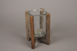 A280U7 Glass candle holder with wooden stand H25cm