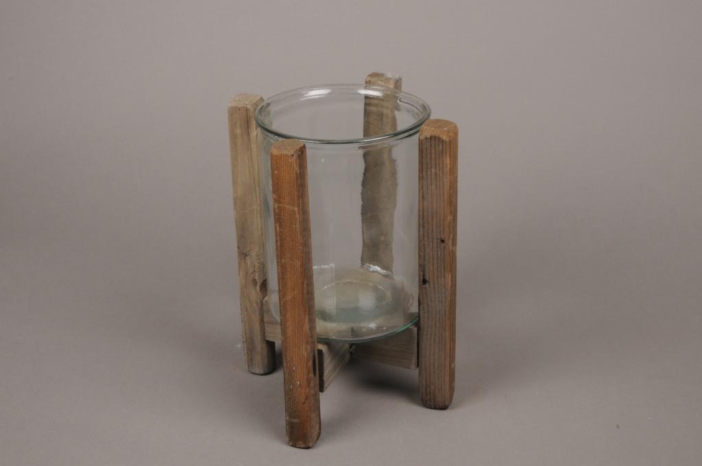A280U7 Photophore en verre avec support en bois H25cm