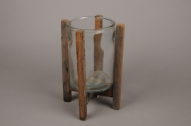 A281U7 Glass candle holder with wooden stand H30.5cm