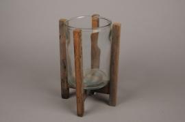 A281U7 Photophore en verre avec support en bois H30.5cm