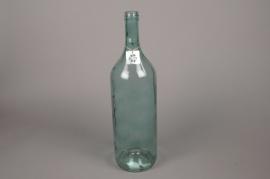 A282U7 Vase en verre bouteille bleu D14cm H54cm