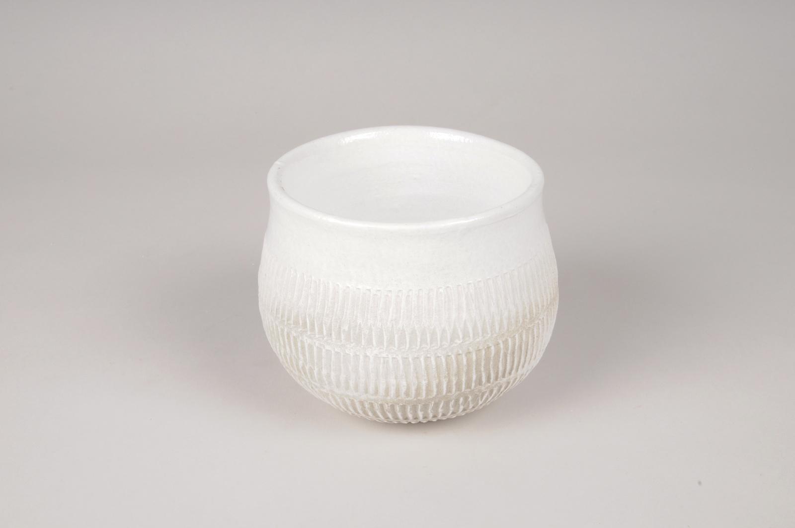 A283DQ Cache-pot en céramique blanc D13cm H11cm