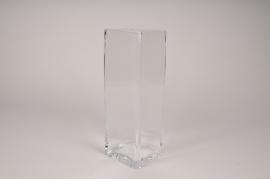A285I0 Vase en verre carre 9.5cm x10cm H30cm