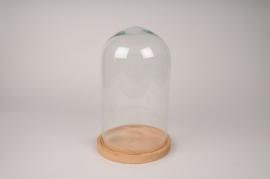 A292I0 Cloche en verre avec plateau bois D19cm H31cm