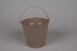 A295KM Zinc bucket dark grey taupe diameter 16cm height 14cm
