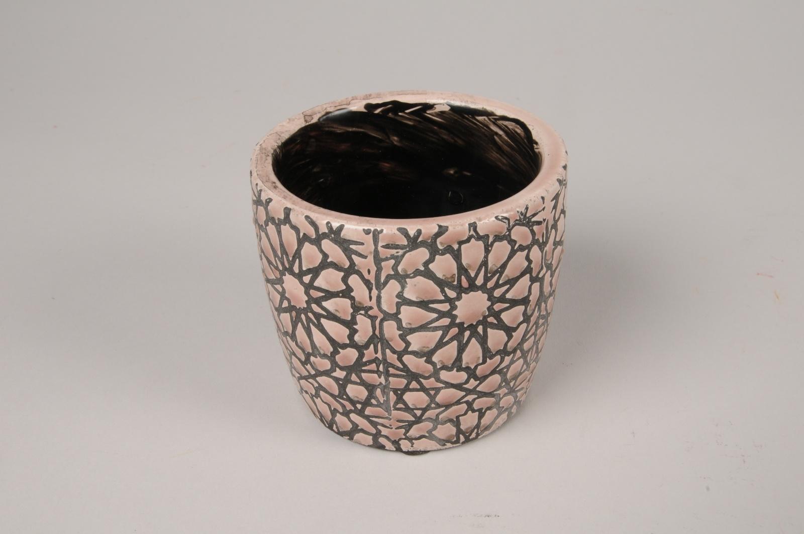A295NM Cache-pot en céramique rose et gris D9cm H8cm