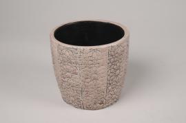 A297NM Cache-pot en céramique rose et gris D12.5cm H12cm